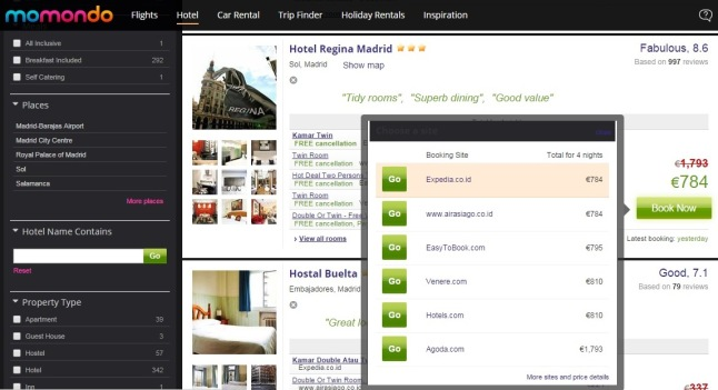 The preview of hotel booking selection